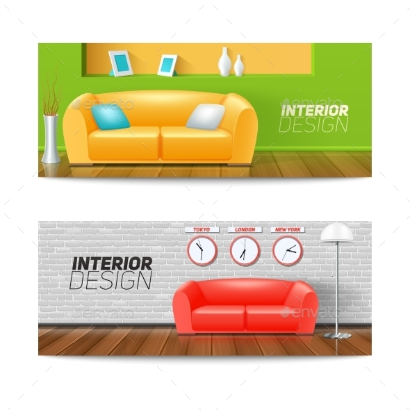 Interior Banners Set  - Man-made Objects Objects