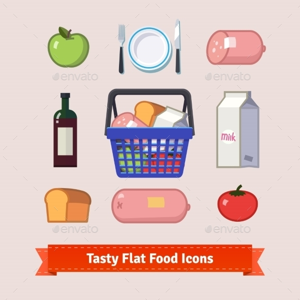 Bag Full Of Groceries And Tasty Food Flat Icon Set - Food Objects