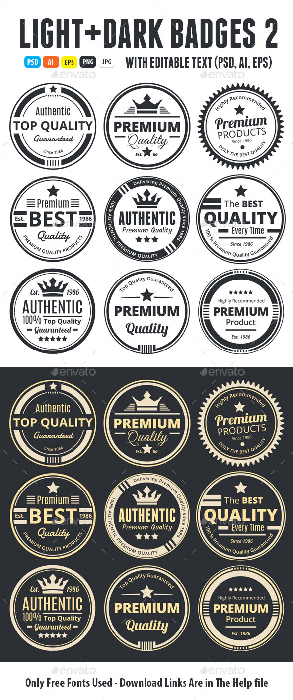 Light And Dark Badges 2 - Badges & Stickers Web Elements