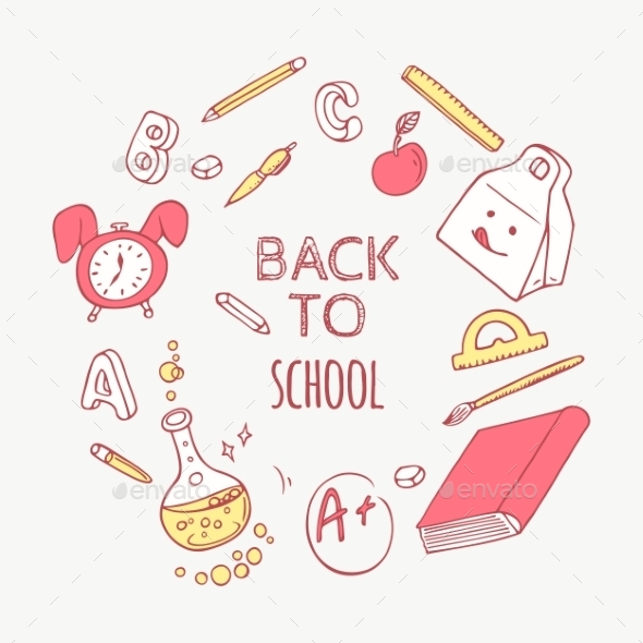 Back To School Doodle Supplies Background - Objects Vectors