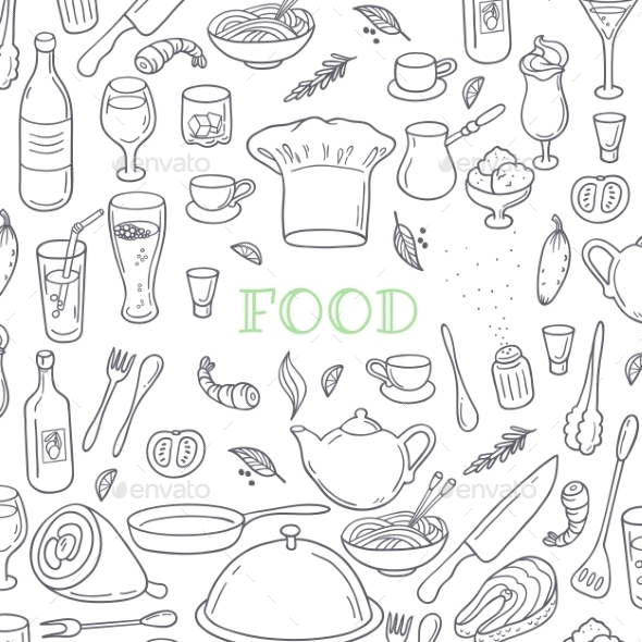 Food And Drink Outline Doodle Background - Food Objects