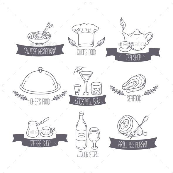 Hand Drawn Food And Drinks Labels Templates For