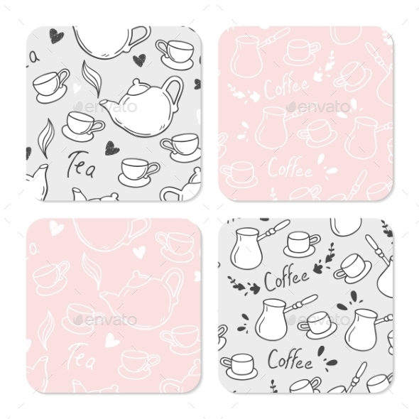 Square Table Coasters Set With Doodle Tea