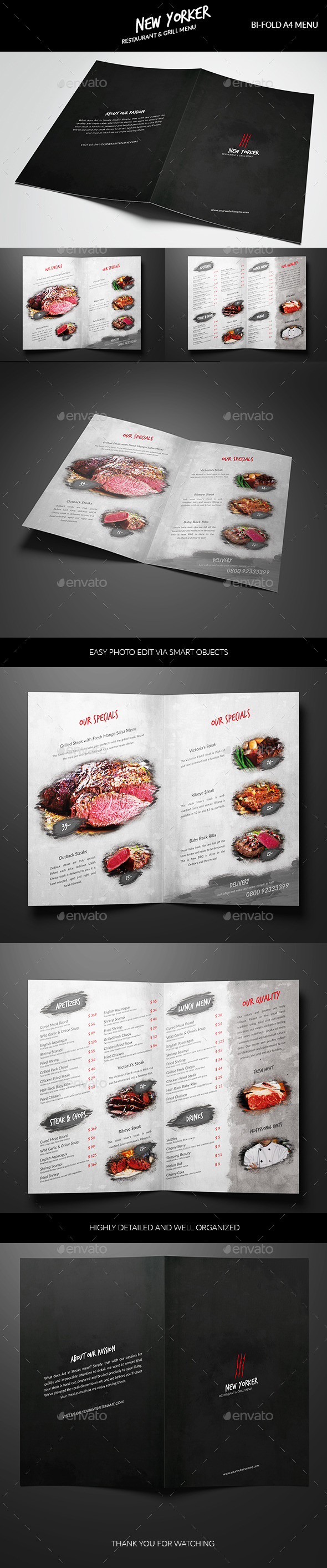 NewYorker Restaurant menu - Food Menus Print Templates