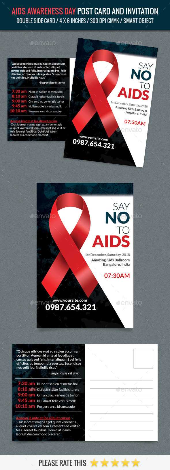 Aids Awareness Day Post Card Template