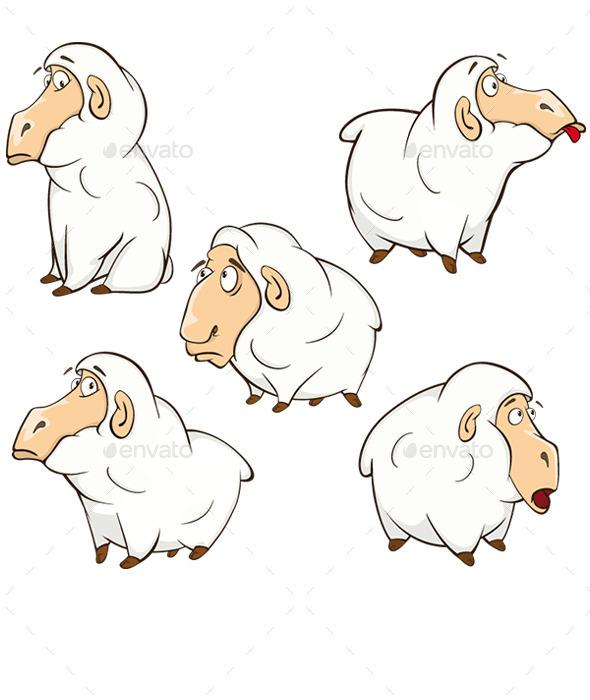 Set of Cartoon Sheep - Animals Characters