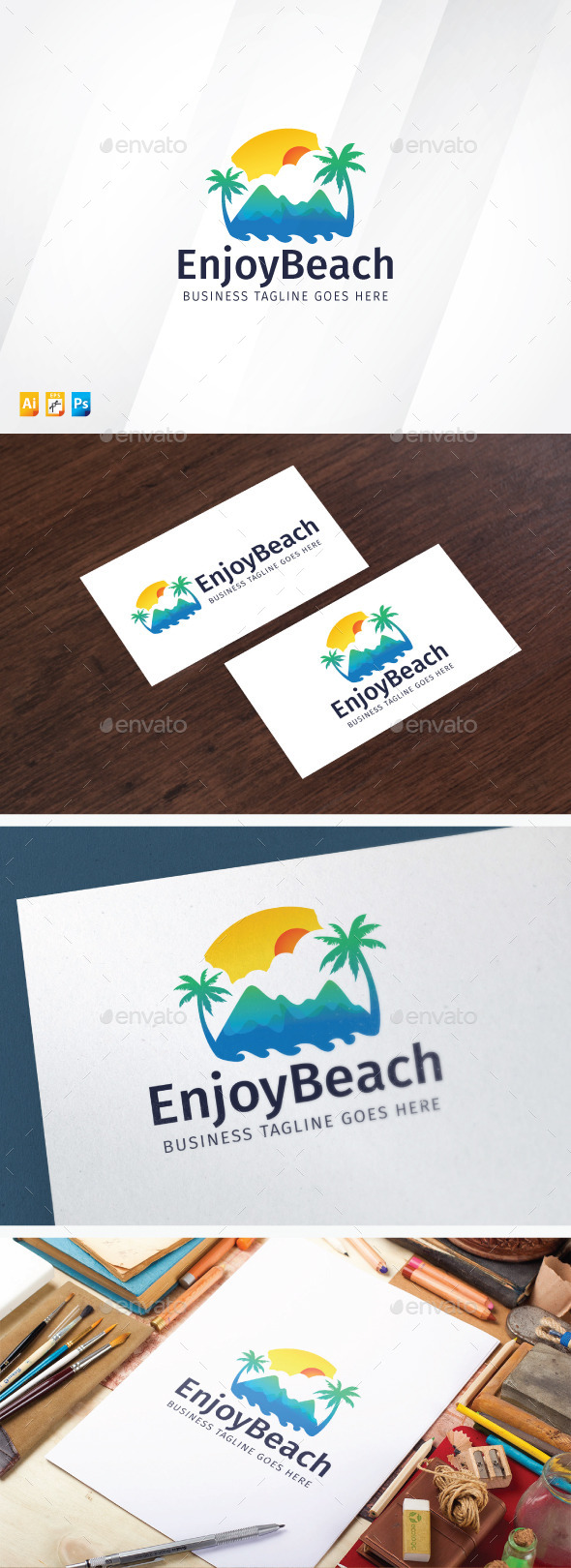 Enjoy Beach - Nature Logo Templates