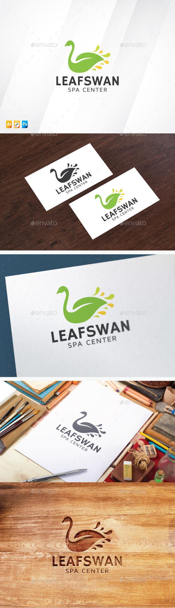 Leaf Swan Logo - Vector Abstract