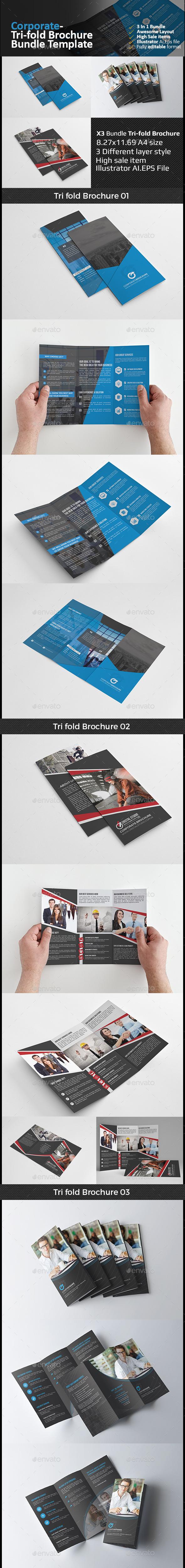Tri Fold Brochure Bundle 3 in 1  - Corporate Brochures