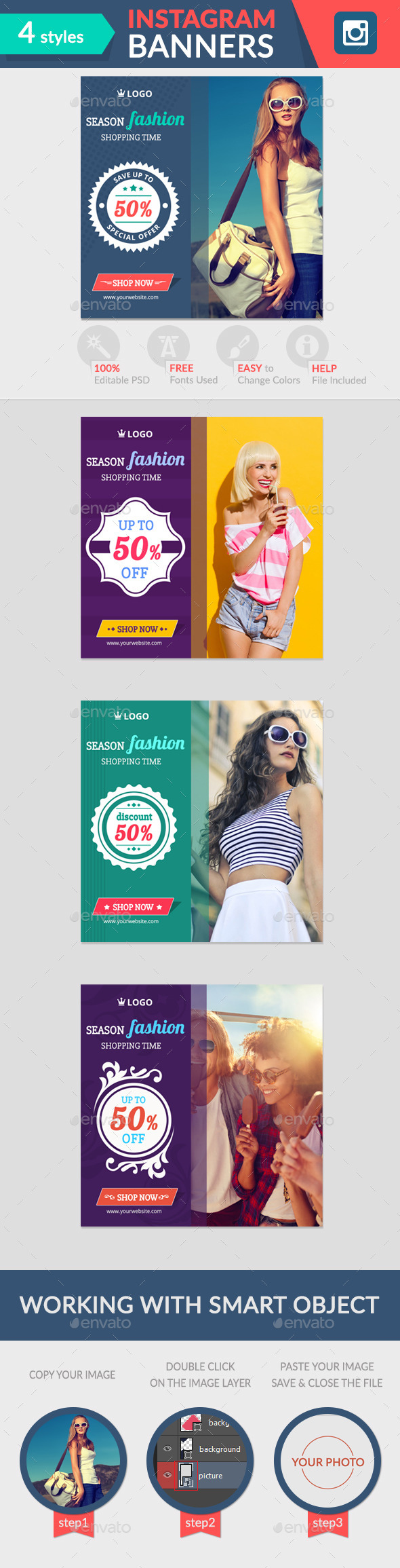Instagram Banners - Banners & Ads Web Elements