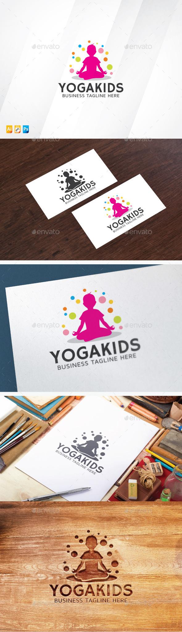 Yoga Kids - Humans Logo Templates