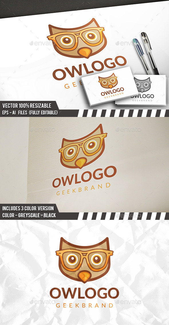 Geek Owl Logo - Animals Logo Templates