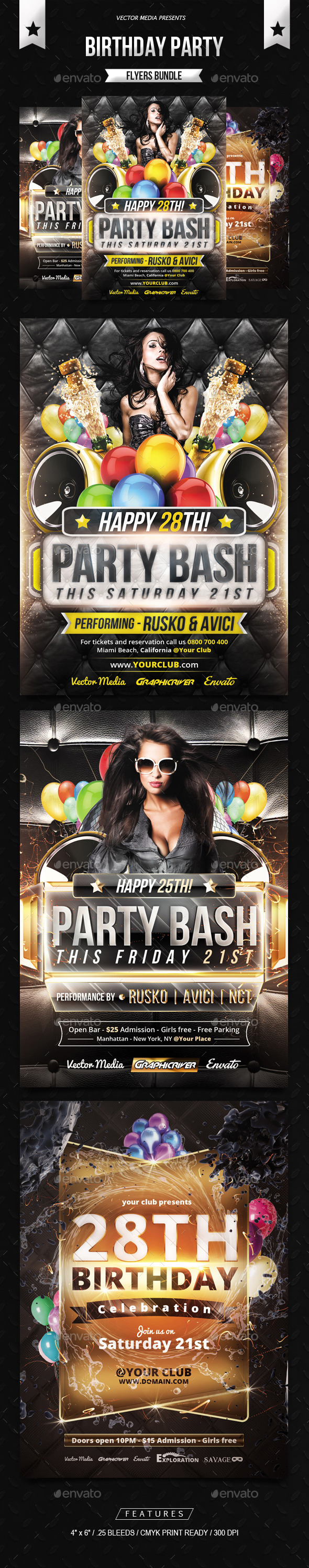 Birthday Party - Flyers Bundle - Clubs & Parties Events