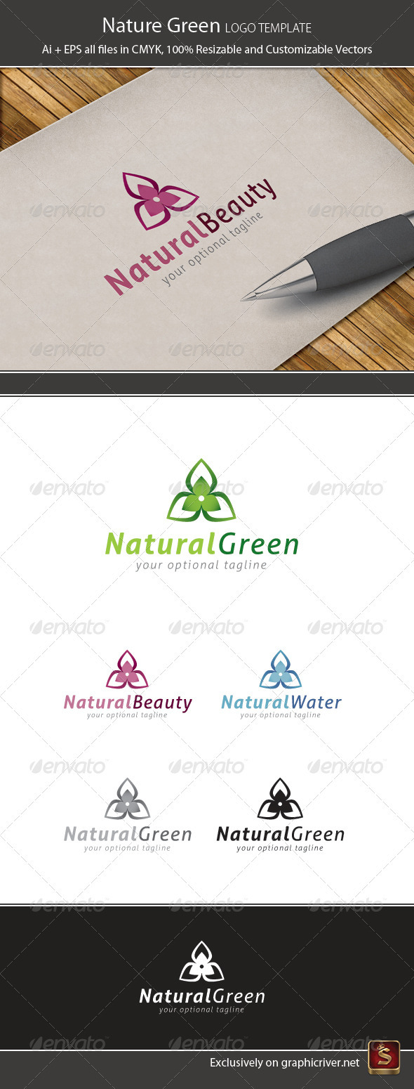 Nature Green Logo Template - Vector Abstract