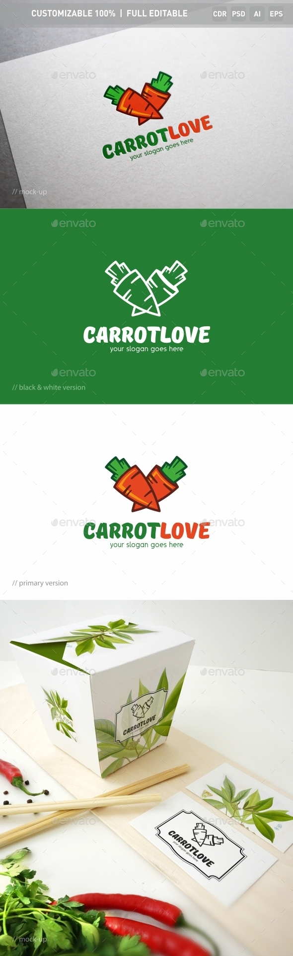 Carrot Love Logo Template - Food Logo Templates