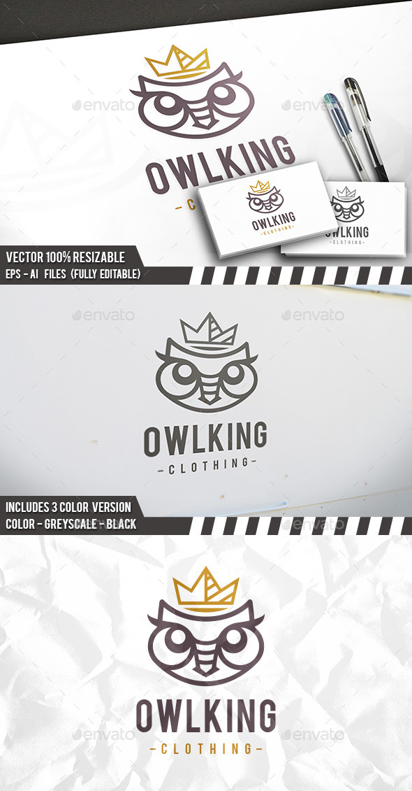 Owl King Logo - Animals Logo Templates