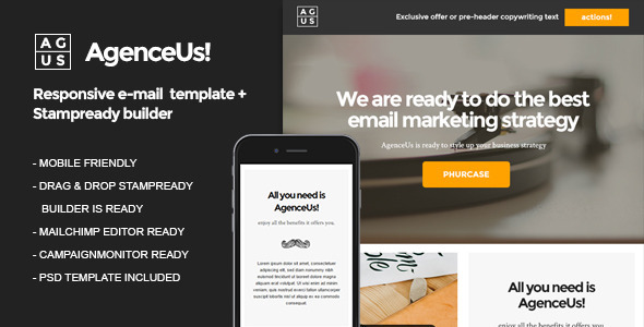 AgenceUs – Responsive Email + StampReady Builder