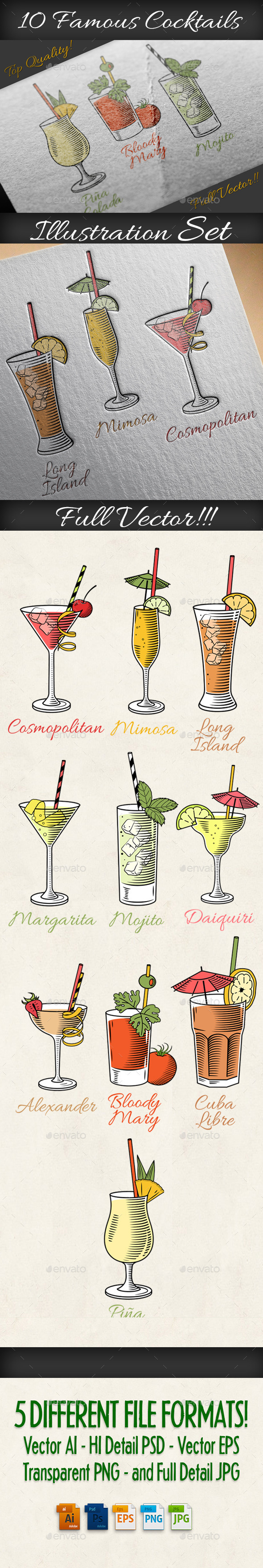 Cocktails Illustrations Set - Food Objects