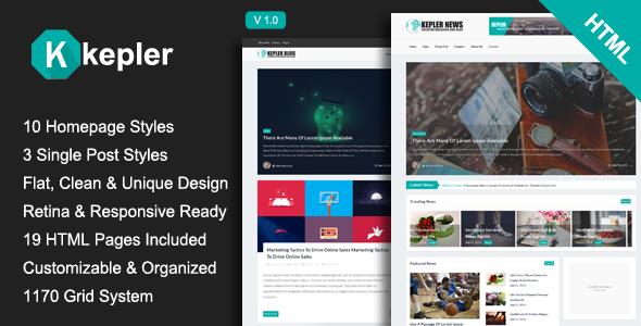 Kepler – Magazine/Personal Blogging HTML Template