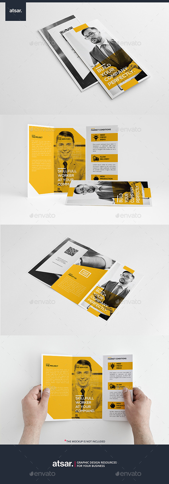 Yellow Simple Trifold - Corporate Brochures