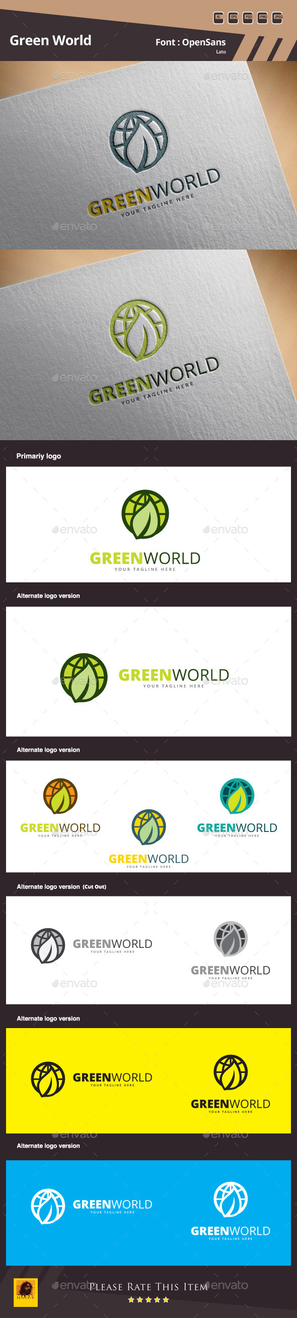 Green World Logo Template - Nature Logo Templates