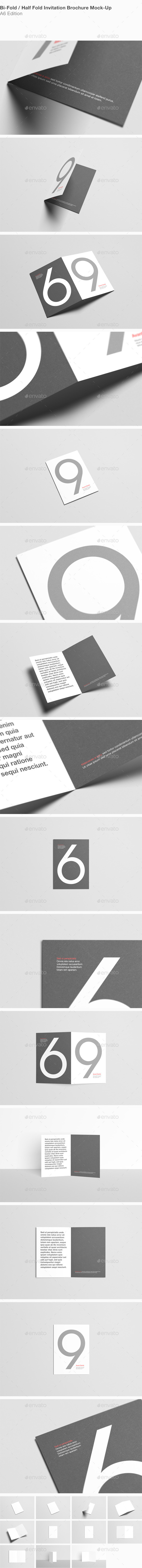 A6 Bi-Fold Half-Fold Invitation Brochure Mock-Up