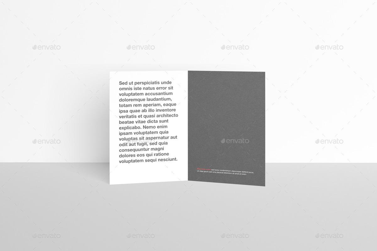 A6 Bi-Fold / Half-Fold Invitation Brochure Mock-Up