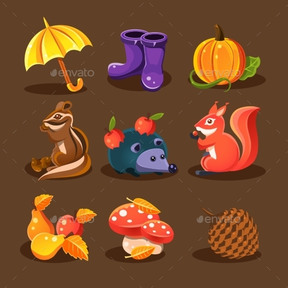 Autumn Forest, Woodland Animals, Flowers  - Seasons Nature
