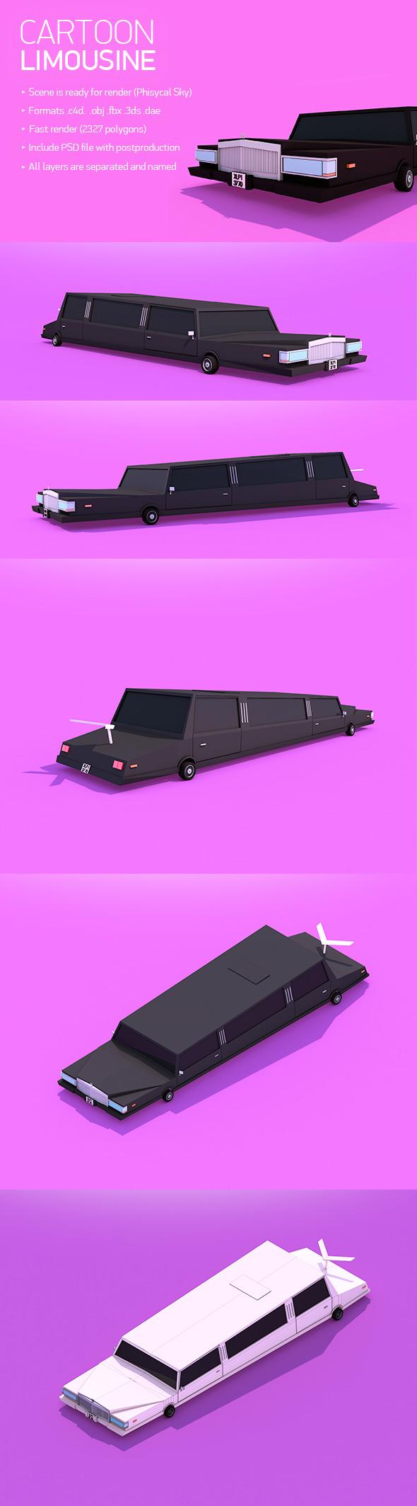 Cartoon Limousine - 3DOcean Item for Sale