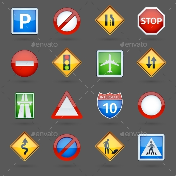 Road Traffic Signs Glossy Icons Set - Man-made objects Objects