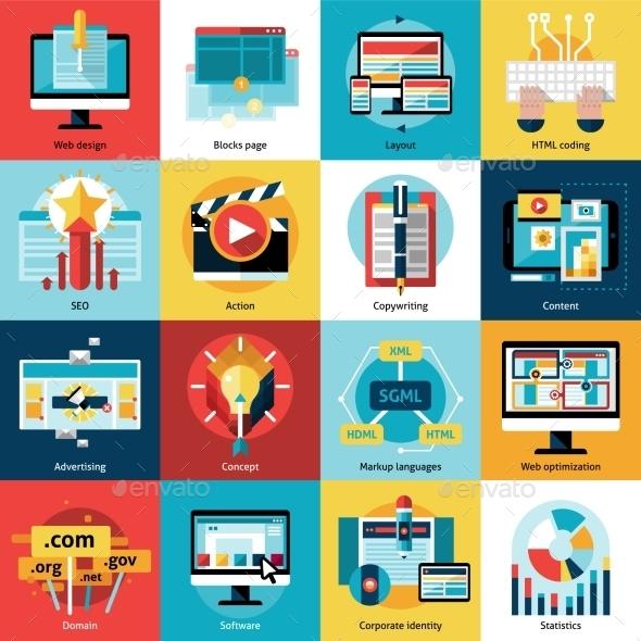 Creative Process Concept Icons Set