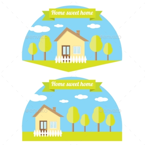 Vector House Illustration. Home Sweet Home - Buildings Objects