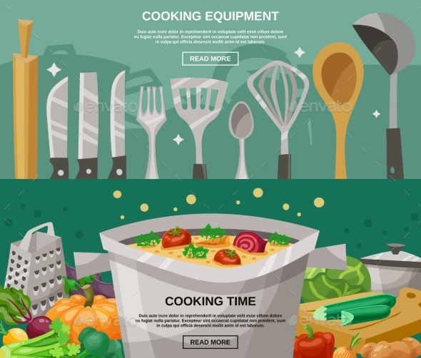 Cooking Equipment And Time Banners Set