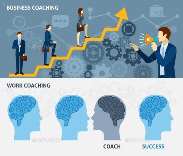 Business Coaching Horizontal Flat Banners Set - Business Conceptual