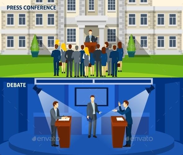Politics Two Flat Banners Set - Miscellaneous Vectors