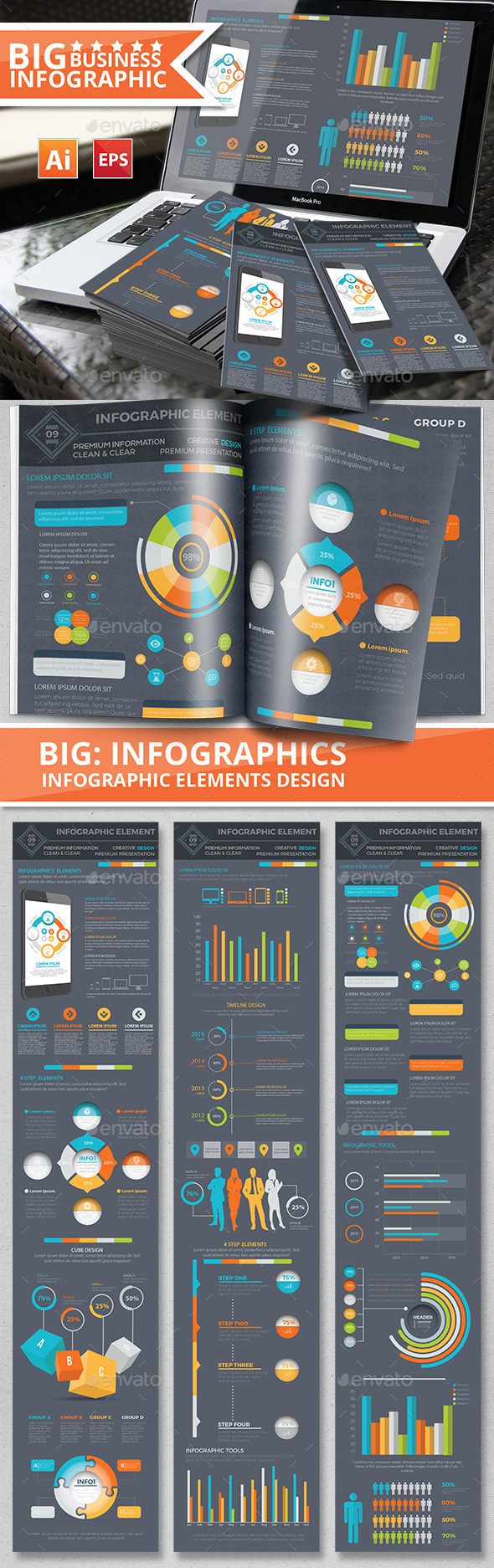 Infographic Elements Design on Dark Background - Infographics