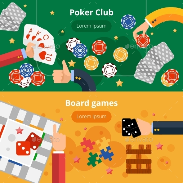 Gambling Games Flat Banners Set - Miscellaneous Conceptual