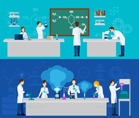 Scientist Banner Set - Miscellaneous Vectors