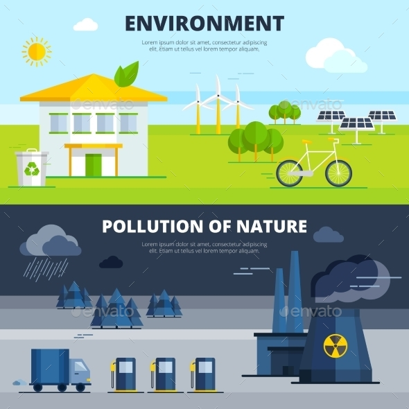 Environment And Pollution Banners Set - Nature Conceptual