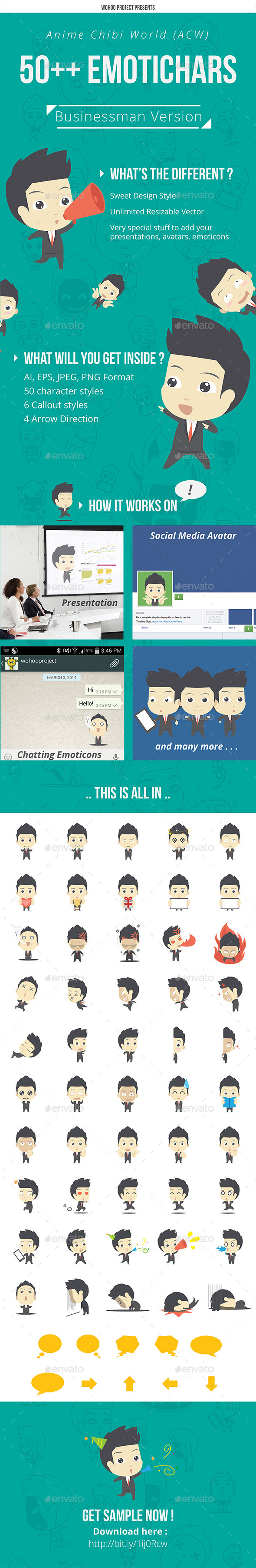 50& Emotichars Businessman Version