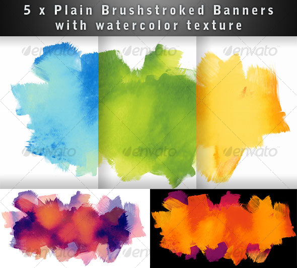 Brushed Watercolor Textured Banner - Backgrounds Decorative