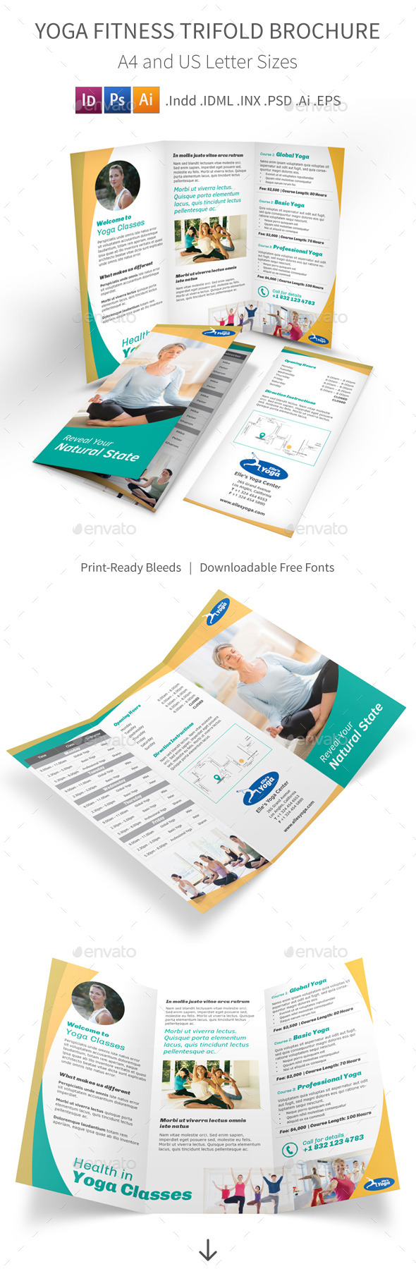 Yoga Fitness Trifold Brochure - Informational Brochures
