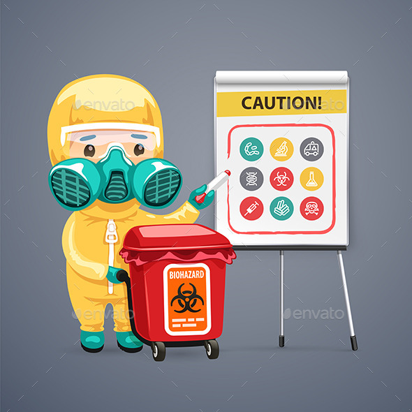 Caution Biohazard Poster with Doctor and Flipchart - Health/Medicine Conceptual