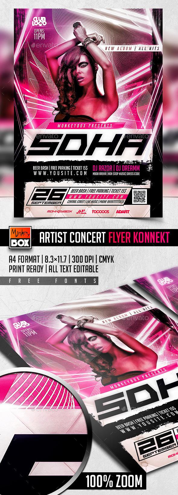 Artist Concert Flyer Konnekt - Flyers Print Templates