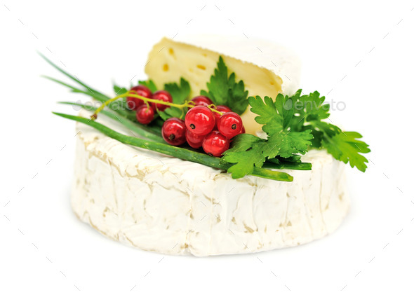 Camembert cheese with red currants and parsley on white - Stock Photo - Images