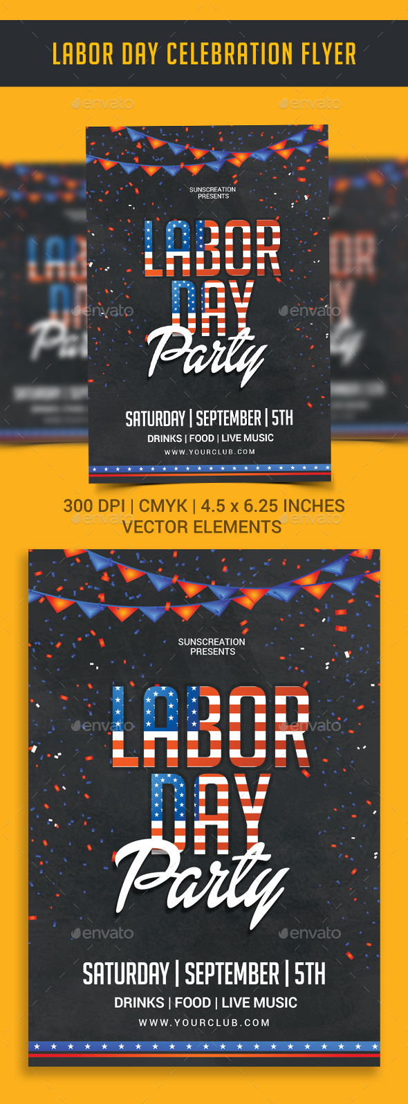 Labor Day Celebration Party Flyer Template - Clubs & Parties Events