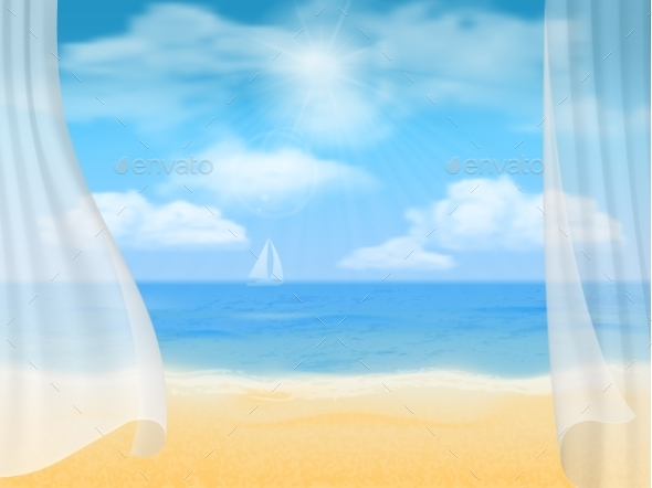 Beach and Curtains - Landscapes Nature