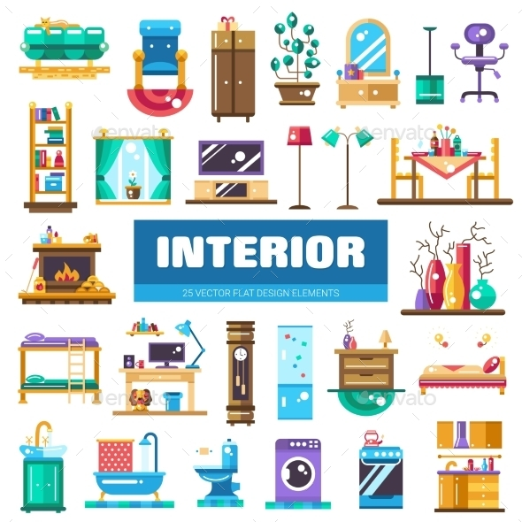 Set of Modern Flat Design Interior Icons
