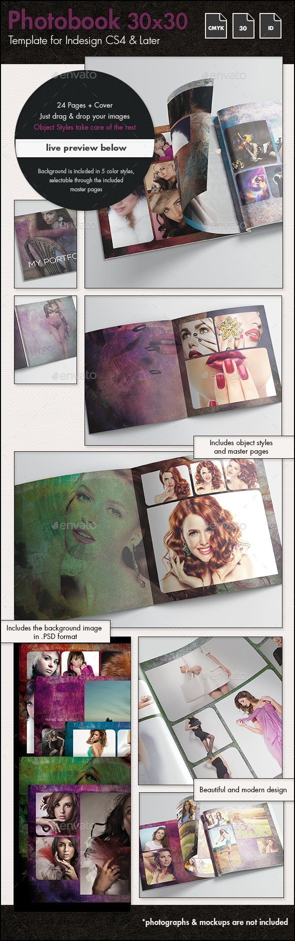 Photobook Fashion Album Template - 30x30cm - Photo Albums Print Templates