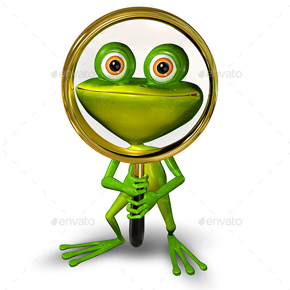 Frog with a Magnifying Glass - Animals Illustrations